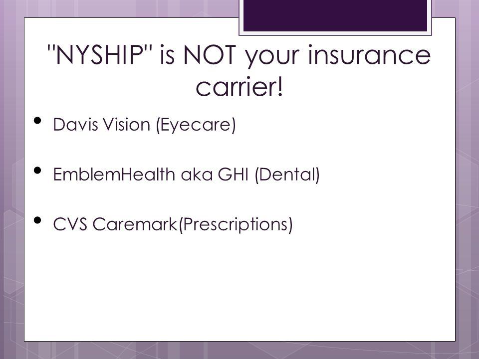 NYSHIP card United Healthcare  Empire BlueCross BlueShield  ValueOptions  CVS Caremark 