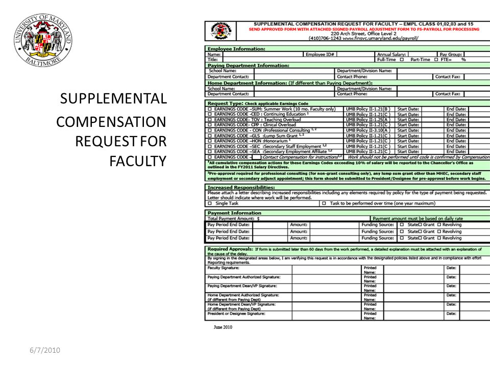 6/7/2010 SUPPLEMENTAL COMPENSATION REQUEST FOR FACULTY 20