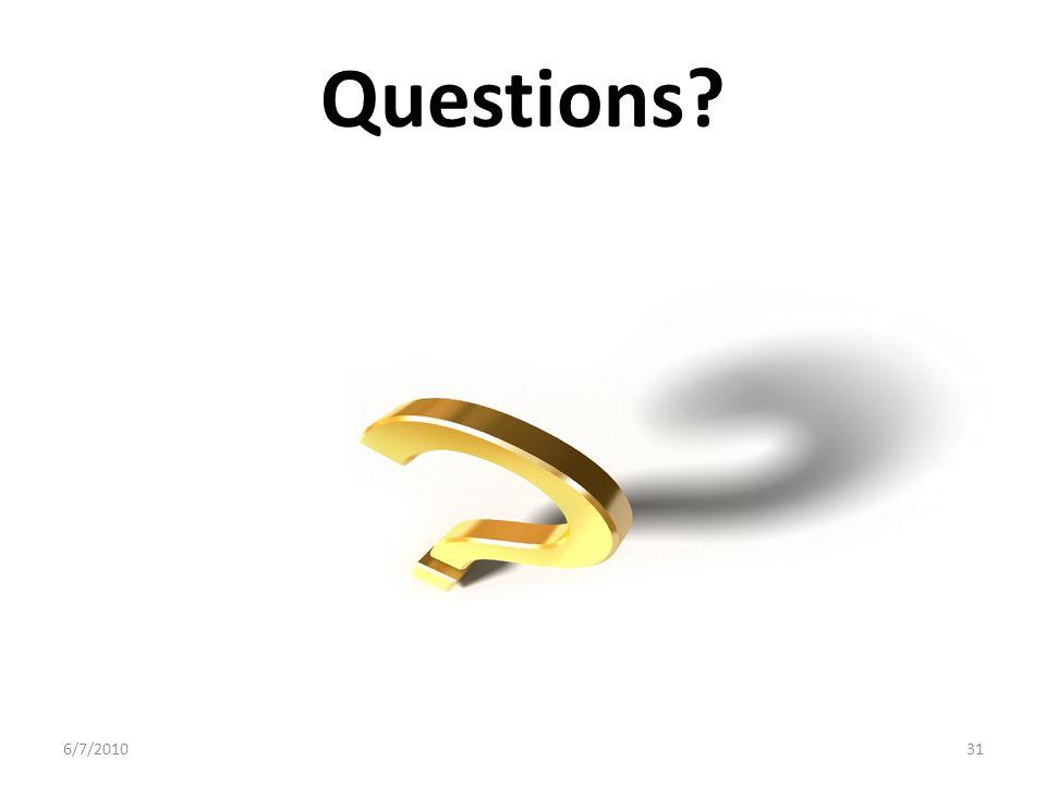 Questions? 6/7/201031