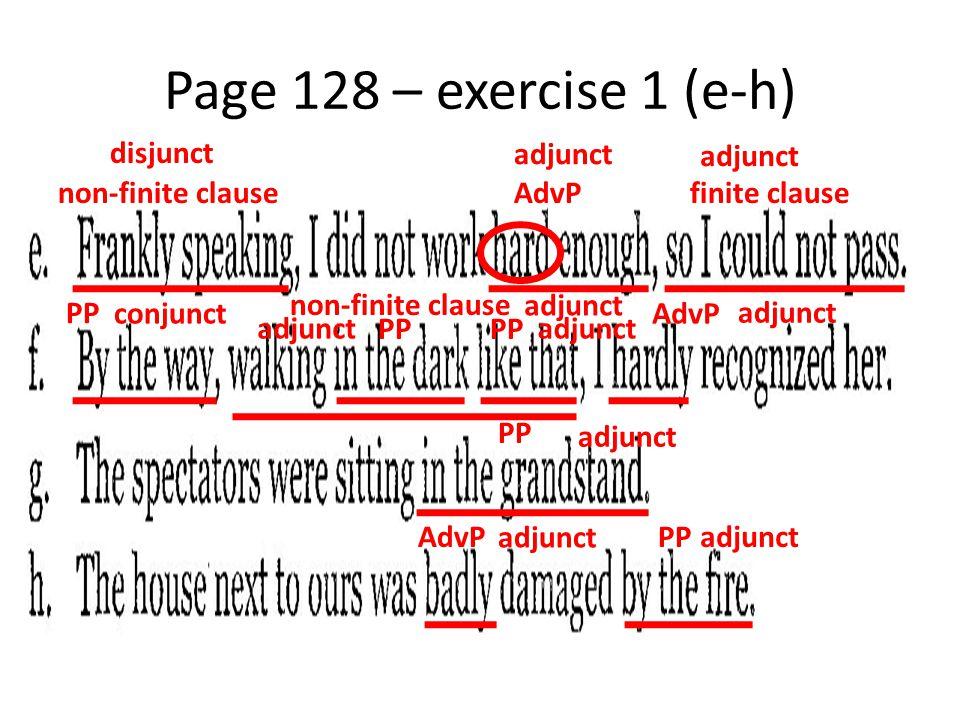 Page 128 – exercise 1 (e-h) non-finite clauseAdvPfinite clause PP non-finite clause AdvP PP AdvPPP disjunct adjunct conjunct adjunct