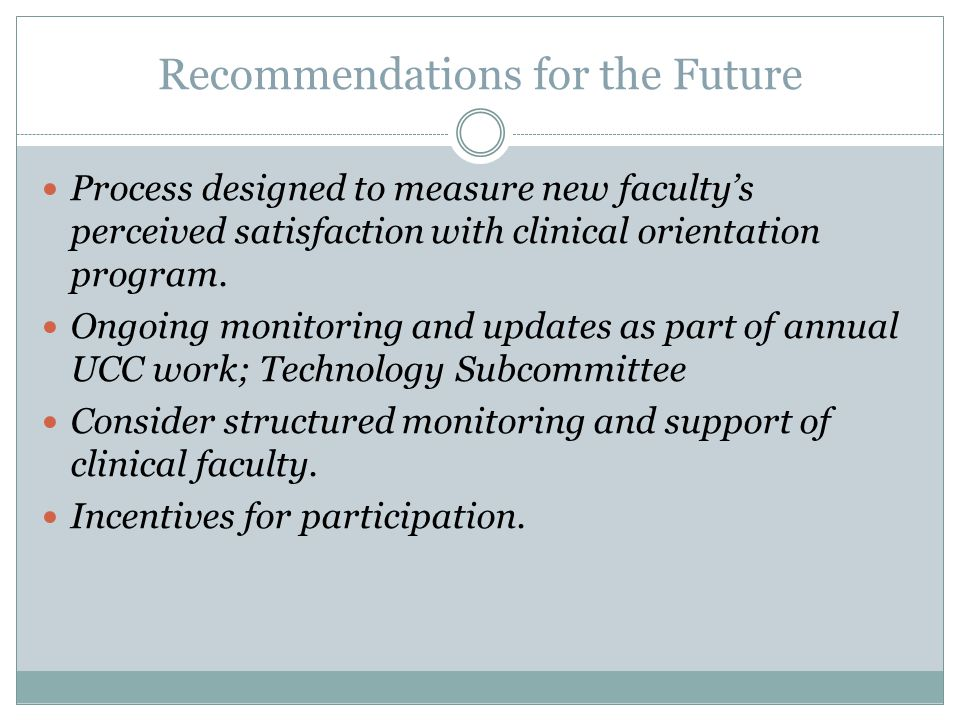 Recommendations for the Future Process designed to measure new faculty's perceived satisfaction with clinical orientation program.