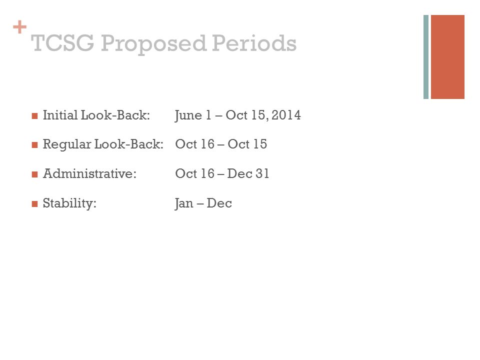 + TCSG Proposed Periods Initial Look-Back:June 1 – Oct 15, 2014 Regular Look-Back:Oct 16 – Oct 15 Administrative:Oct 16 – Dec 31 Stability:Jan – Dec