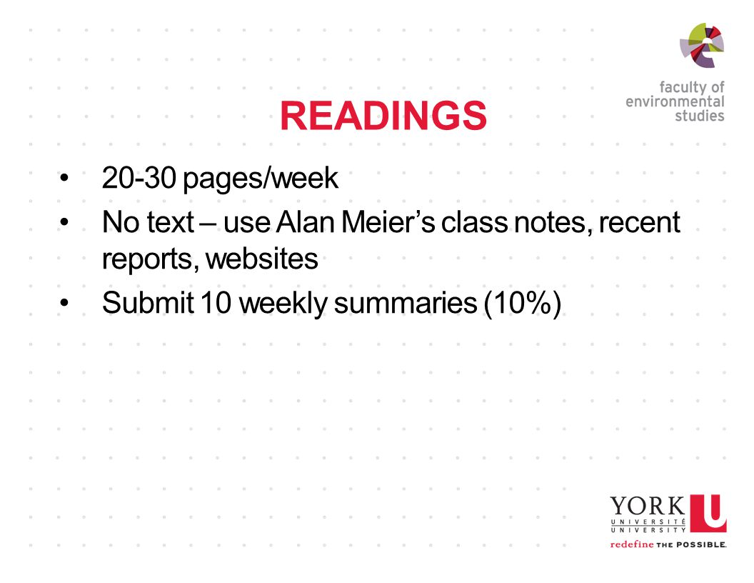 READINGS 20-30 pages/week No text – use Alan Meier's class notes, recent reports, websites Submit 10 weekly summaries (10%)