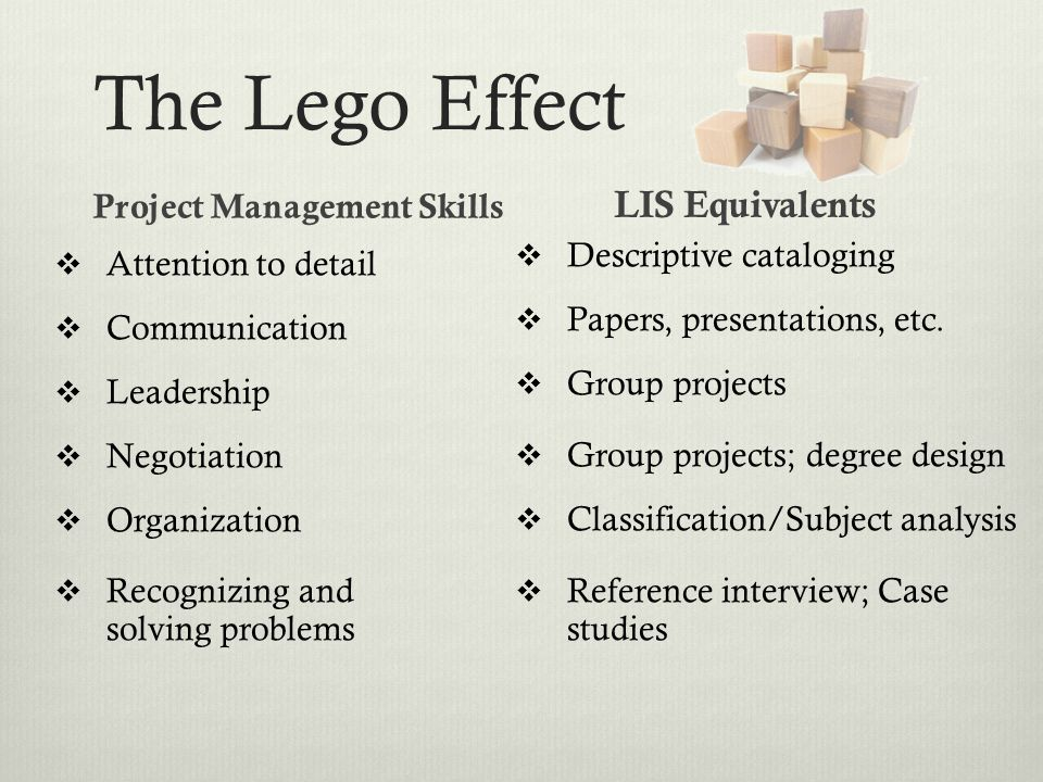 The Lego Effect Project Management Skills  Attention to detail  Communication  Leadership  Negotiation  Organization  Recognizing and solving pr