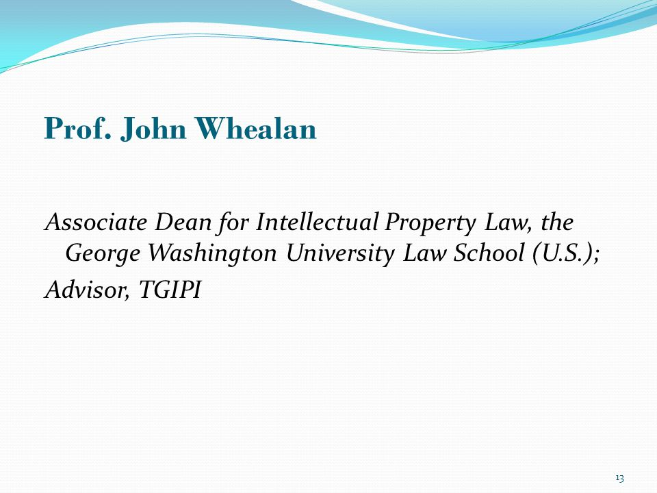 Associate Dean for Intellectual Property Law, the George Washington University Law School (U.S.); Advisor, TGIPI Prof.