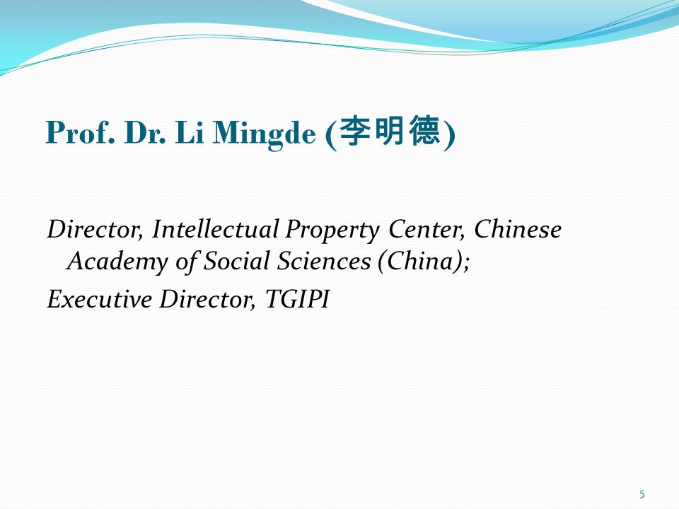 Director, Intellectual Property Center, Chinese Academy of Social Sciences (China); Executive Director, TGIPI Prof.