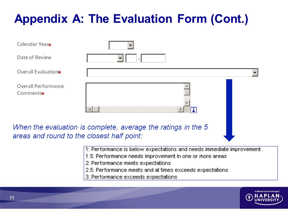 11 Appendix A: The Evaluation Form (Cont.) When the evaluation is complete, average the ratings in the 5 areas and round to the closest half point: