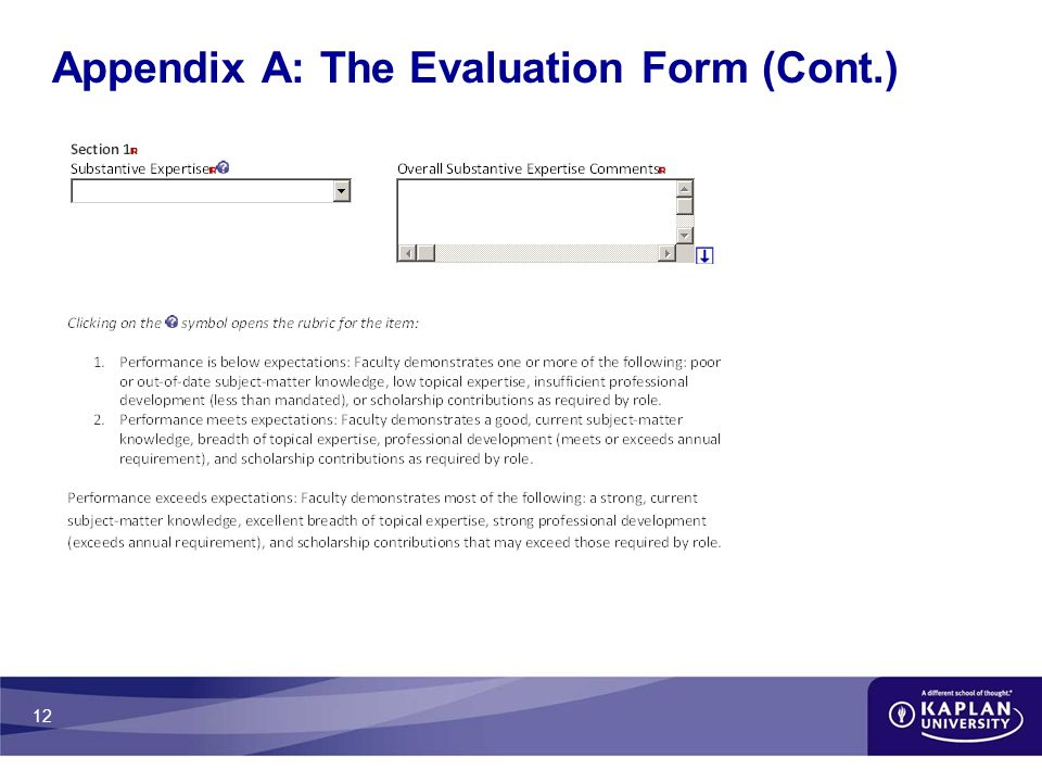 12 Appendix A: The Evaluation Form (Cont.)