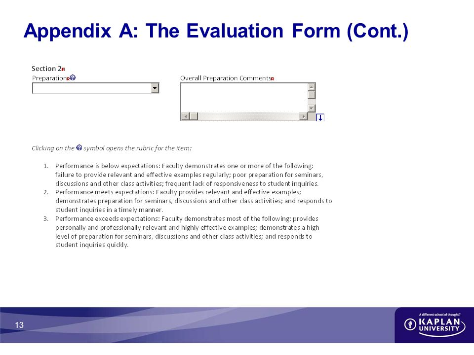 13 Appendix A: The Evaluation Form (Cont.)
