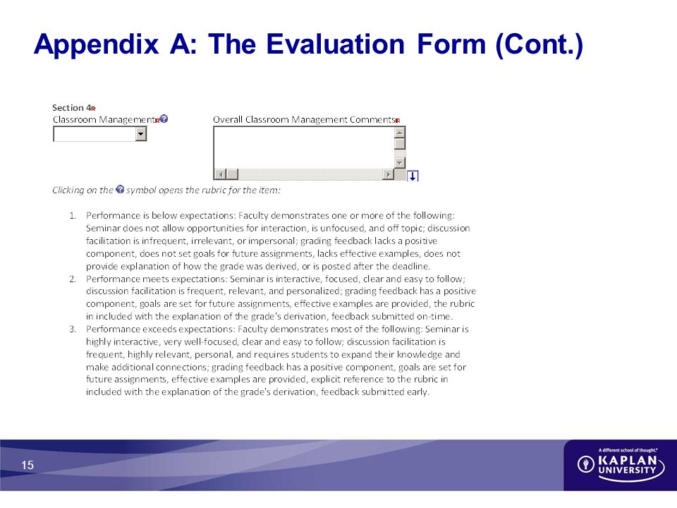 15 Appendix A: The Evaluation Form (Cont.)