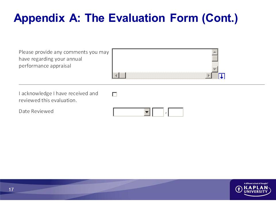 17 Appendix A: The Evaluation Form (Cont.)