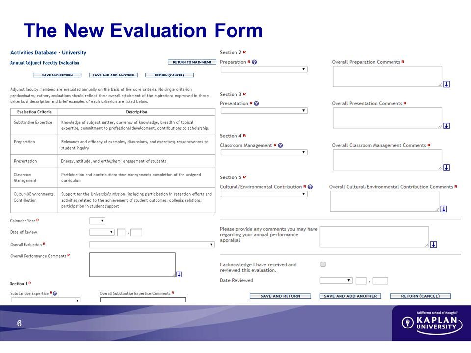 6 The New Evaluation Form