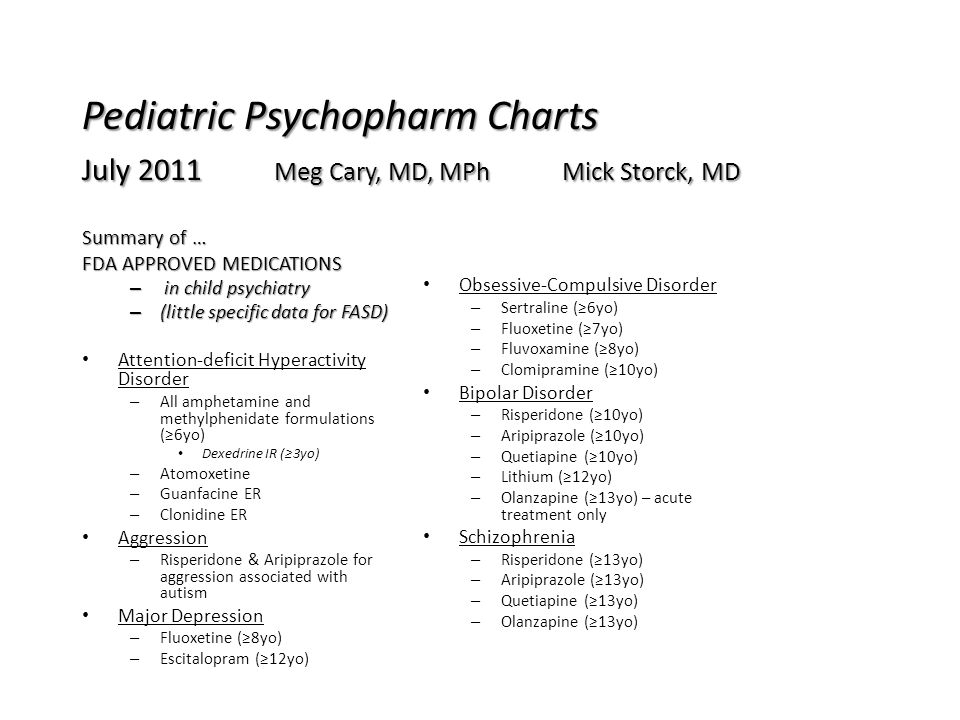 Pediatric Psychopharm Charts July 2011 Meg Cary, MD, MPh Mick Storck, MD Summary of … FDA APPROVED MEDICATIONS – in child psychiatry – (little specifi