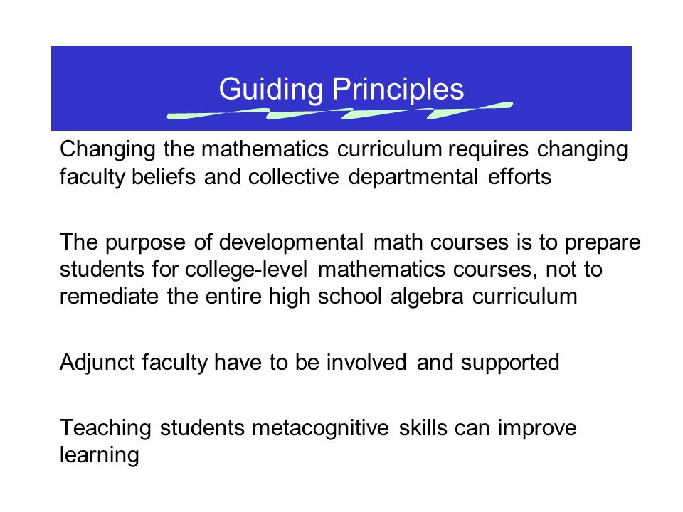 Guiding Principles Changing the mathematics curriculum requires changing faculty beliefs and collective departmental efforts The purpose of developmen
