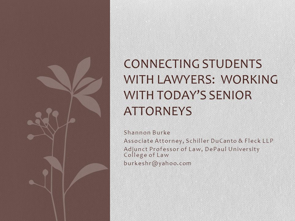 Shannon Burke Associate Attorney, Schiller DuCanto & Fleck LLP Adjunct Professor of Law, DePaul University College of Law burkeshr@yahoo.com CONNECTING STUDENTS WITH LAWYERS: WORKING WITH TODAY'S SENIOR ATTORNEYS