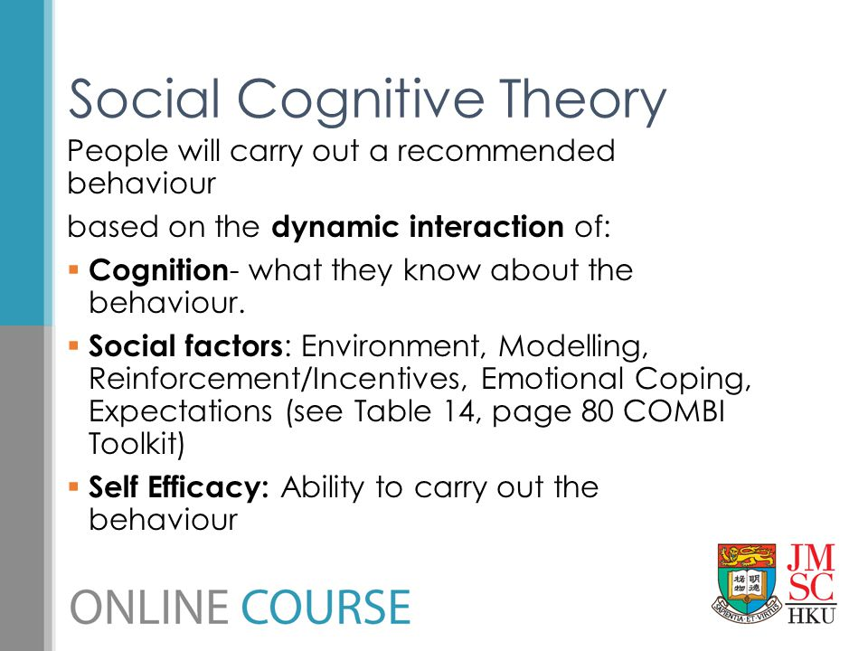 People will carry out a recommended behaviour based on the dynamic interaction of:  Cognition - what they know about the behaviour.  Social factors