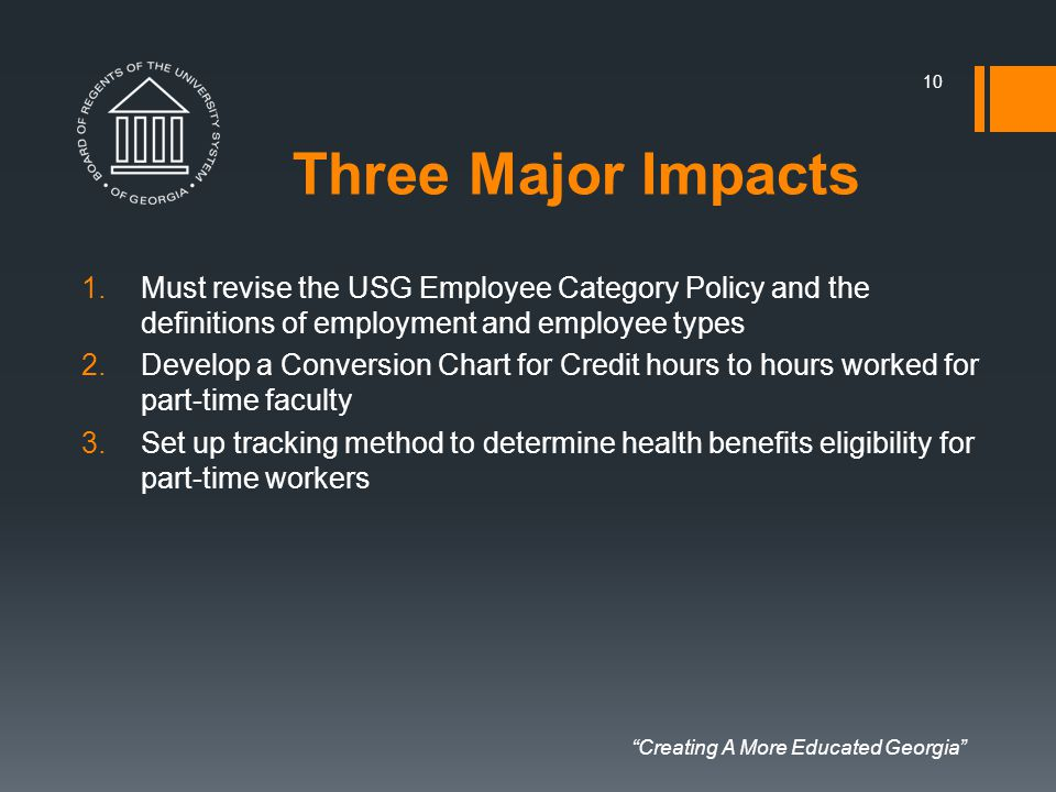 """Creating A More Educated Georgia"" Three Major Impacts 1.Must revise the USG Employee Category Policy and the definitions of employment and employee t"