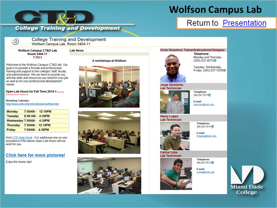 Return to PresentationPresentation Wolfson Campus Lab