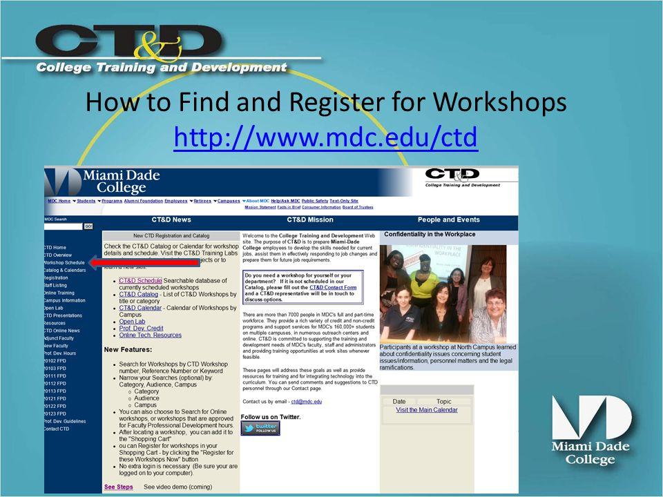 Search for a specific Workshop by Keyword in Title, Reference Number or Course ID Or Browse by Category Audience Online classes FPD Workshops Or by one or more Campuses Demo http://www.mdc.edu/ctdhttp://www.mdc.edu/ctd How to Find and Register for Workshops