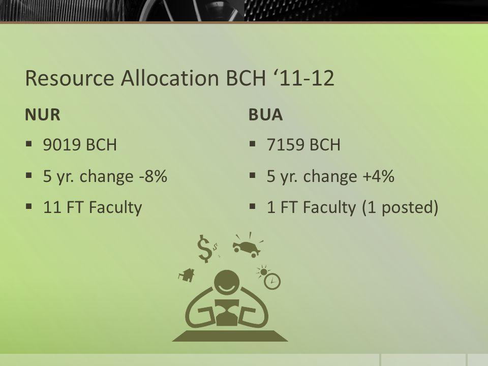 Resource Allocation BCH '11-12 NURBUA  9019 BCH  5 yr.