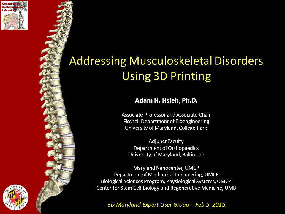 Addressing Musculoskeletal Disorders Using 3D Printing Adam H.