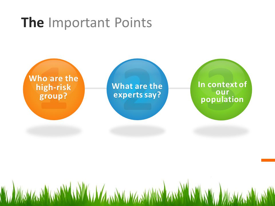 The Important Points 1 Who are the high-risk group.
