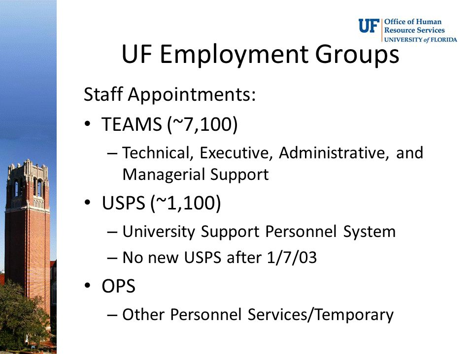 UF Employment Groups Staff Appointments: TEAMS (~7,100) – Technical, Executive, Administrative, and Managerial Support USPS (~1,100) – University Support Personnel System – No new USPS after 1/7/03 OPS – Other Personnel Services/Temporary