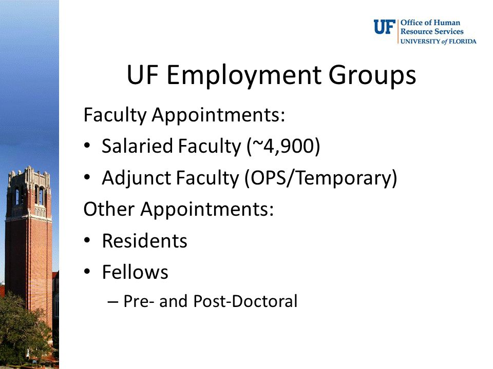 UF Employment Groups Faculty Appointments: Salaried Faculty (~4,900) Adjunct Faculty (OPS/Temporary) Other Appointments: Residents Fellows – Pre- and Post-Doctoral