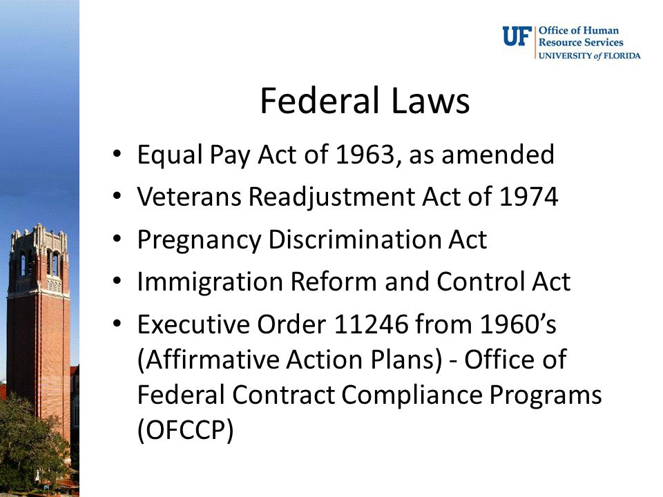 Federal Laws Equal Pay Act of 1963, as amended Veterans Readjustment Act of 1974 Pregnancy Discrimination Act Immigration Reform and Control Act Executive Order 11246 from 1960's (Affirmative Action Plans) - Office of Federal Contract Compliance Programs (OFCCP)