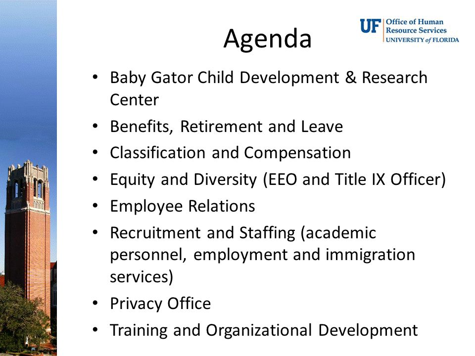 Agenda Baby Gator Child Development & Research Center Benefits, Retirement and Leave Classification and Compensation Equity and Diversity (EEO and Title IX Officer) Employee Relations Recruitment and Staffing (academic personnel, employment and immigration services) Privacy Office Training and Organizational Development