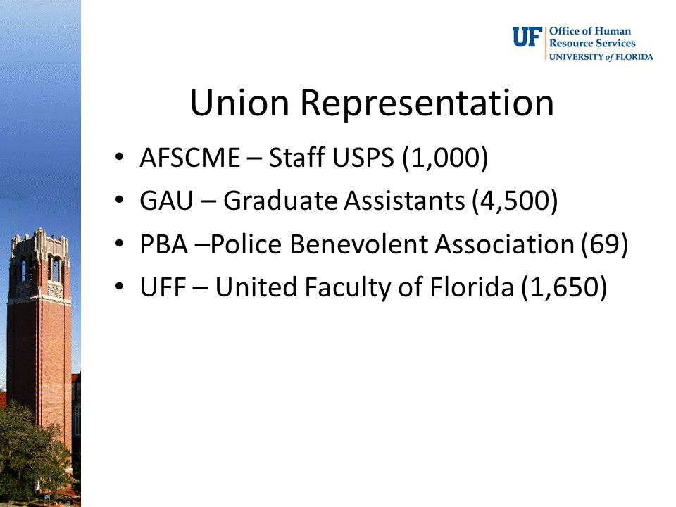Union Representation AFSCME – Staff USPS (1,000) GAU – Graduate Assistants (4,500) PBA –Police Benevolent Association (69) UFF – United Faculty of Florida (1,650)