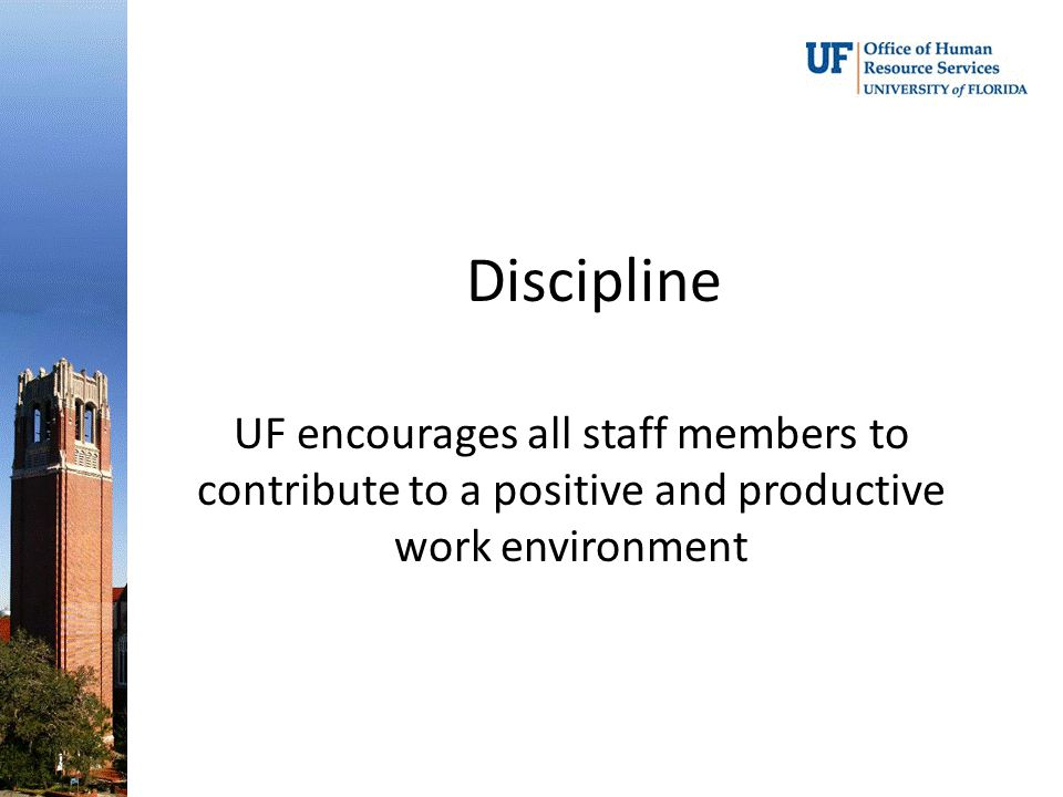Discipline UF encourages all staff members to contribute to a positive and productive work environment