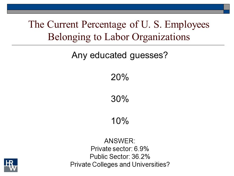 Any educated guesses? 20% 30% 10% ANSWER: Private sector: 6.9% Public Sector: 36.2% Private Colleges and Universities? The Current Percentage of U. S.