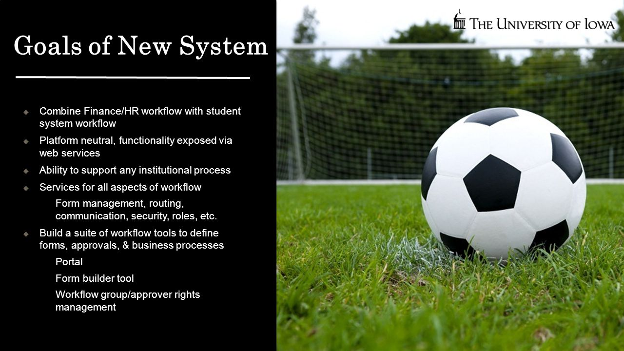 Goals of New System  Combine Finance/HR workflow with student system workflow  Platform neutral, functionality exposed via web services  Ability to support any institutional process  Services for all aspects of workflow  Form management, routing, communication, security, roles, etc.