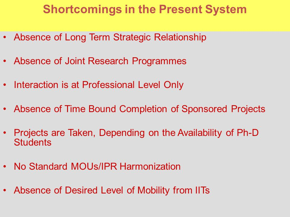 Shortcomings in the Present System Absence of Long Term Strategic Relationship Absence of Joint Research Programmes Interaction is at Professional Level Only Absence of Time Bound Completion of Sponsored Projects Projects are Taken, Depending on the Availability of Ph-D Students No Standard MOUs/IPR Harmonization Absence of Desired Level of Mobility from IITs