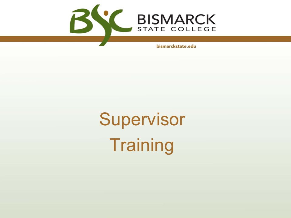 Supervisor Training