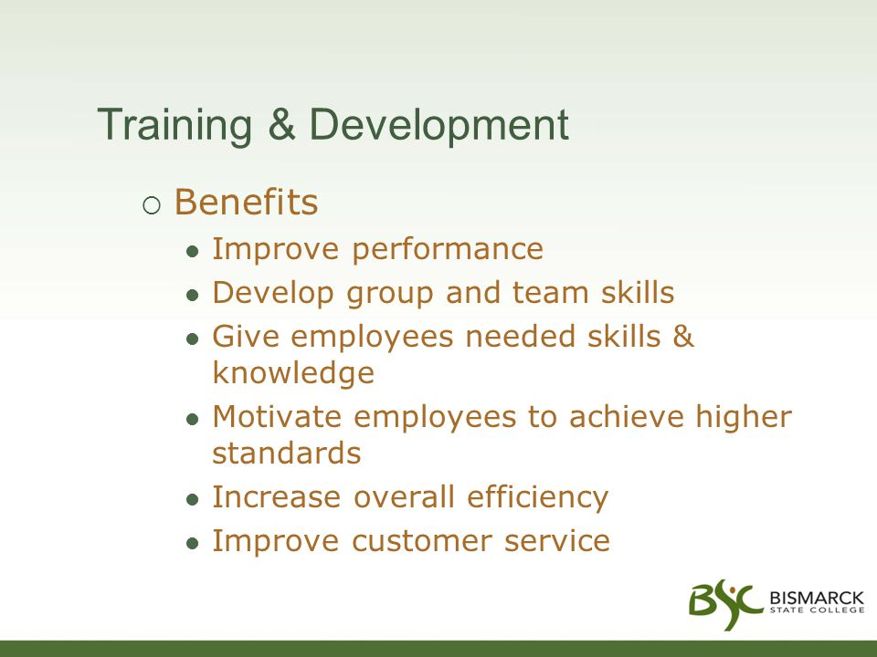 Training & Development  Benefits Improve performance Develop group and team skills Give employees needed skills & knowledge Motivate employees to achieve higher standards Increase overall efficiency Improve customer service