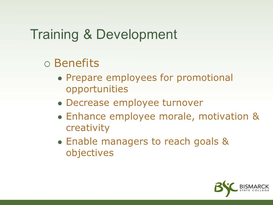 Training & Development  Benefits Prepare employees for promotional opportunities Decrease employee turnover Enhance employee morale, motivation & creativity Enable managers to reach goals & objectives