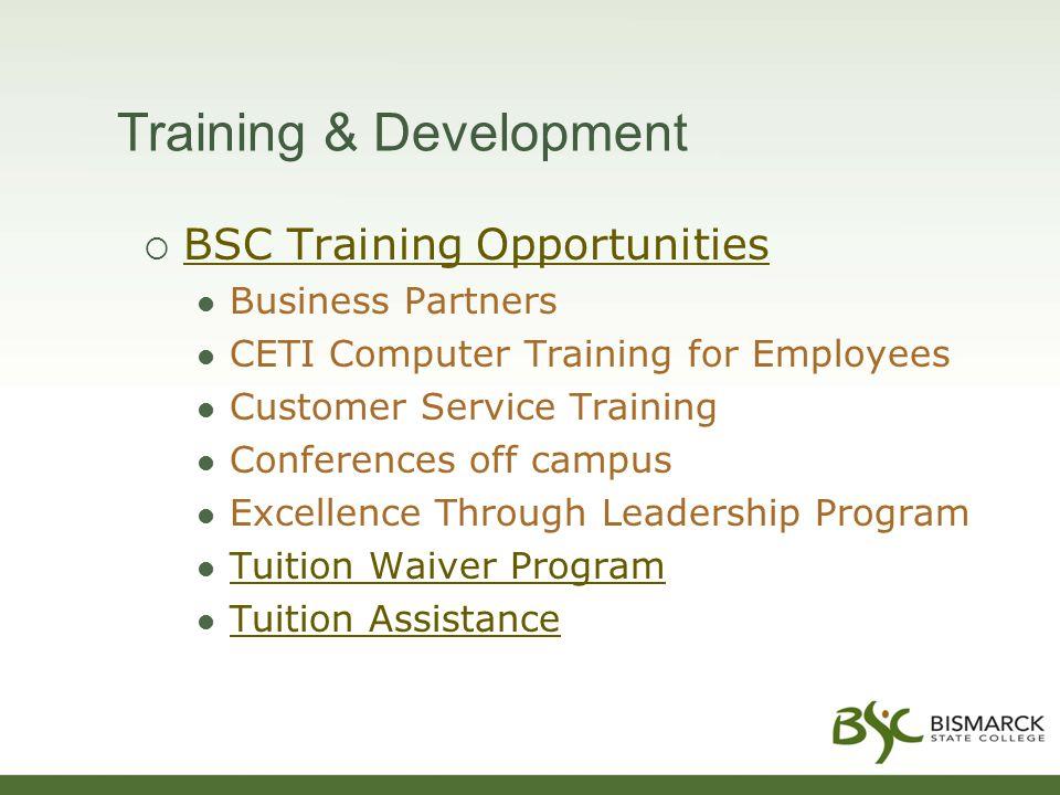 Training & Development  BSC Training Opportunities BSC Training Opportunities Business Partners CETI Computer Training for Employees Customer Service