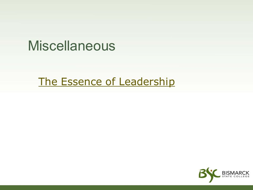 Miscellaneous The Essence of Leadership