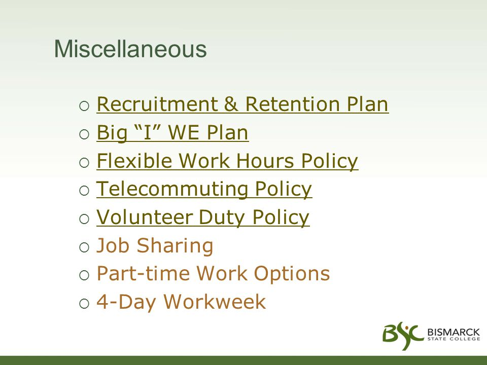 Miscellaneous  Recruitment & Retention Plan Recruitment & Retention Plan  Big I WE Plan Big I WE Plan  Flexible Work Hours Policy Flexible Work Hours Policy  Telecommuting Policy Telecommuting Policy  Volunteer Duty Policy Volunteer Duty Policy  Job Sharing  Part-time Work Options  4-Day Workweek