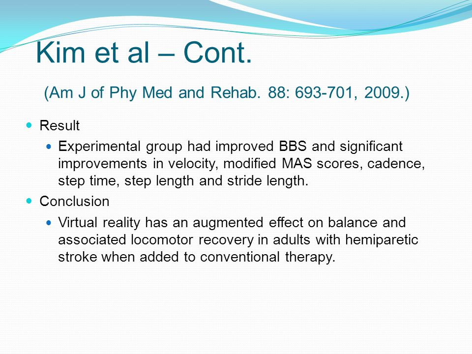 Kim et al – Cont.(Am J of Phy Med and Rehab.