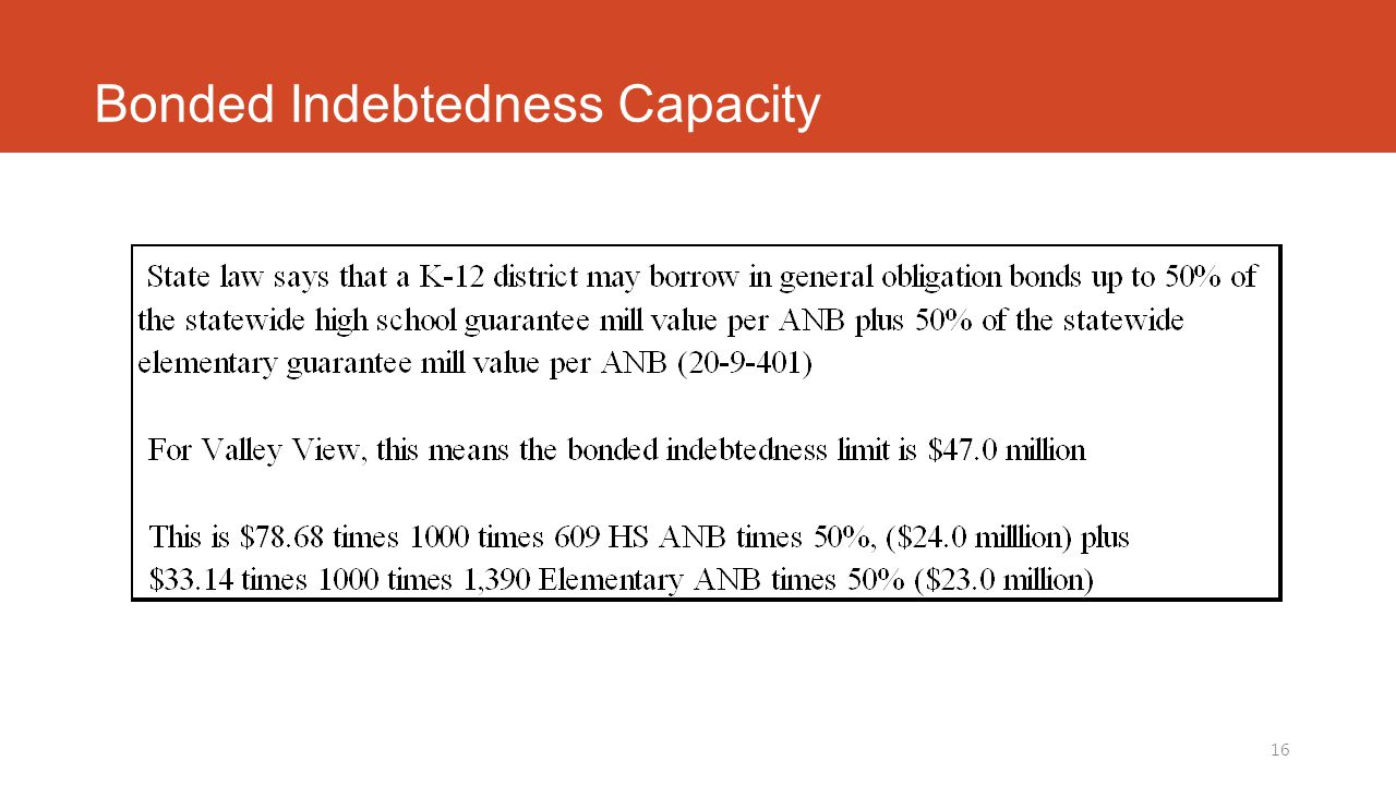 Bonded Indebtedness Capacity 16