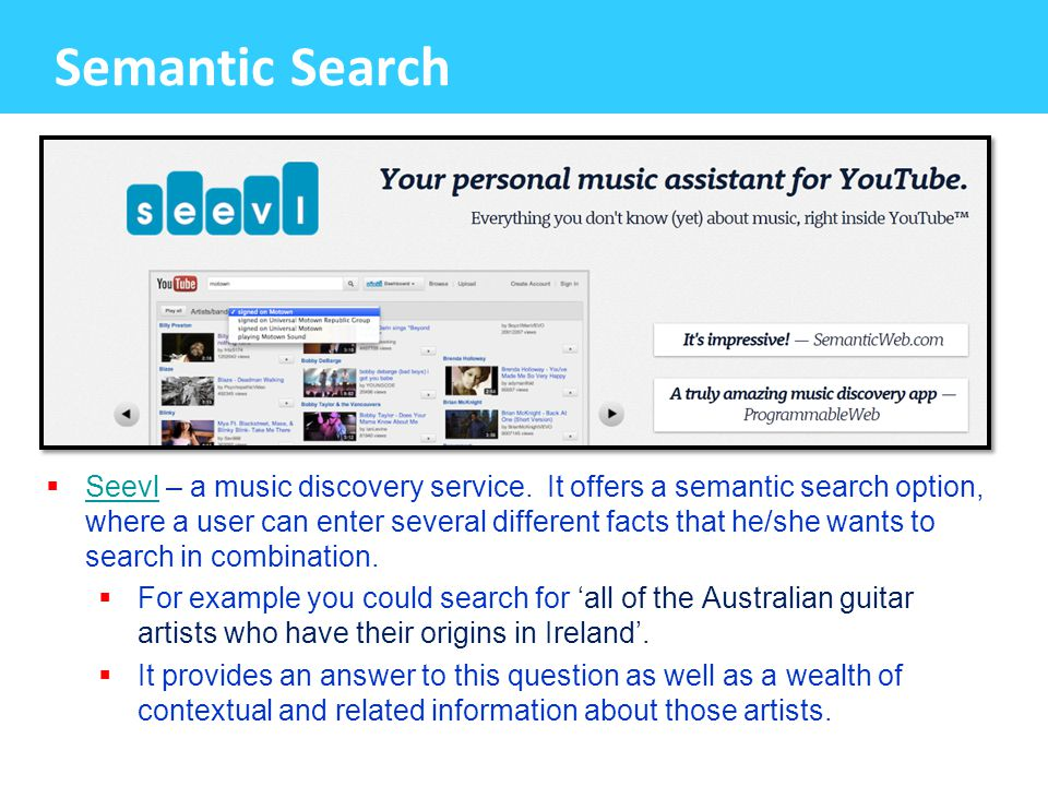 Semantic Search  Seevl – a music discovery service.