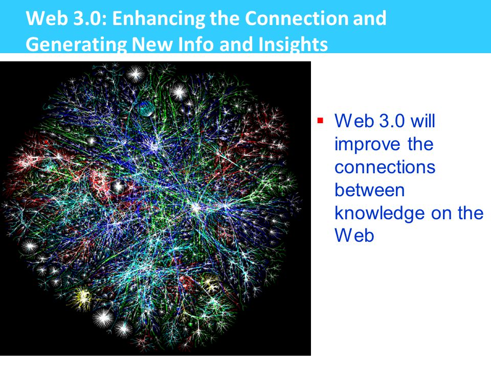 Web 3.0: Enhancing the Connection and Generating New Info and Insights  Web 3.0 will improve the connections between knowledge on the Web