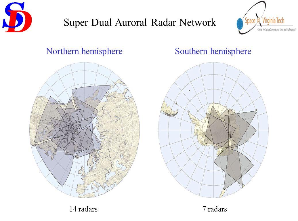Super Dual Auroral Radar Network Northern hemisphereSouthern hemisphere 14 radars7 radars