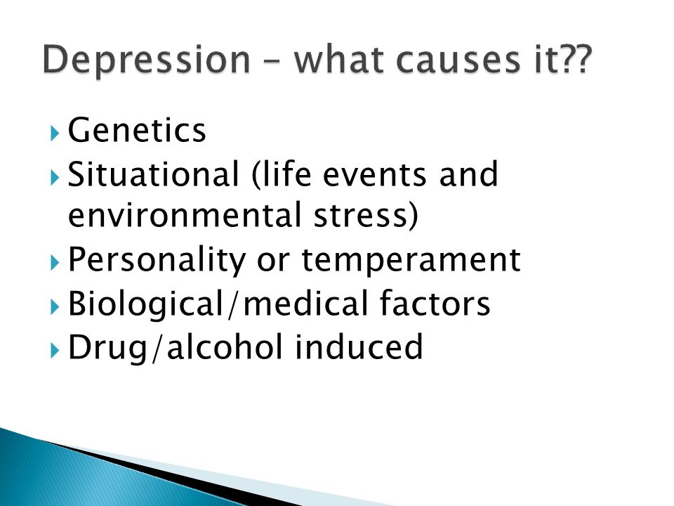  Family history of alcoholism  Genetics  Environment  Family problems  Peers abusing alcohol  Psychiatric problems  Personality (risk takers)