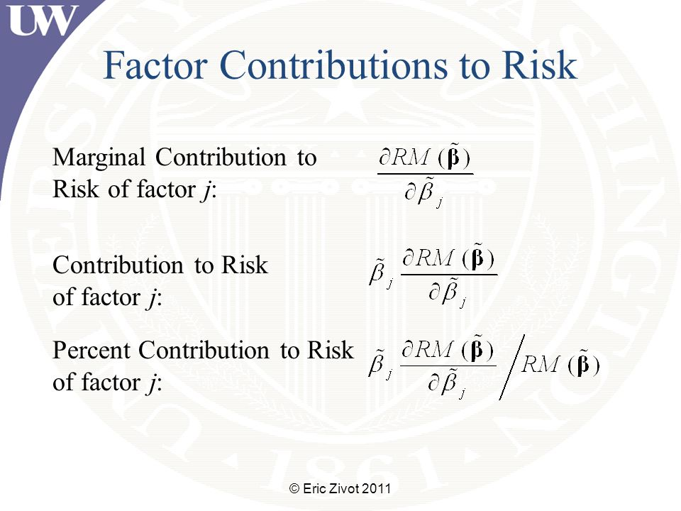 Factor Contributions to Risk © Eric Zivot 2011 Marginal Contribution to Risk of factor j: Contribution to Risk of factor j: Percent Contribution to Risk of factor j:
