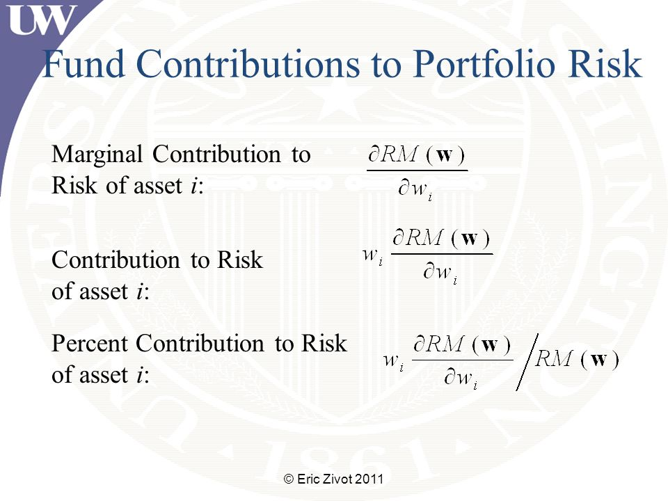 Fund Contributions to Portfolio Risk © Eric Zivot 2011 Marginal Contribution to Risk of asset i: Contribution to Risk of asset i: Percent Contribution to Risk of asset i: