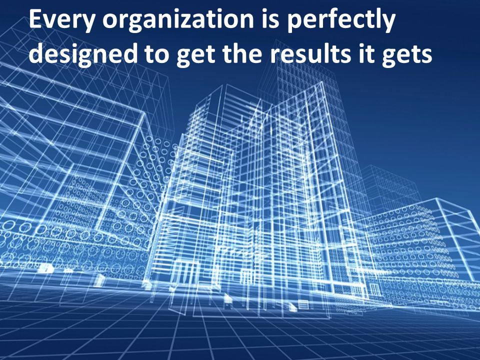 Every organization is perfectly designed to get the results it gets